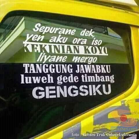 Kumpulan Tulisan lucu di kaca samping truk ….hehehe….gokil 2017 (19)