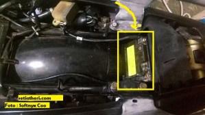 posisi aki bila modif kosong bagian rangka tengah pada Honda Tiger