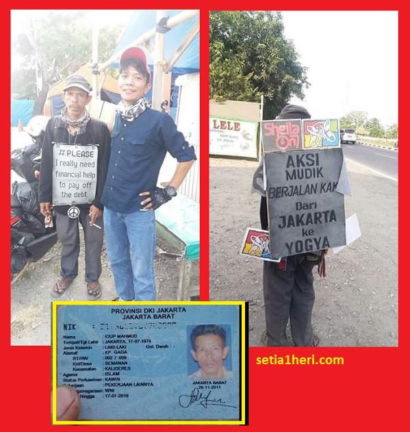 Mahmud mudik jalan kaki 2018 dari Jakarta ke Jogjakarta
