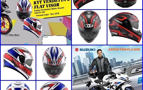 Beli motor Suzuki GSX R150, gratis helm KYT Vendetta 2 Flat Visor tahun 2018