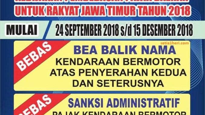 Jadwal Pemutihan Pajak Kendaraan dan Gratis Balik Nama tahun 2018 di Jawa Timur