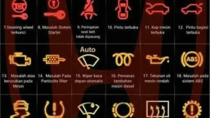 Daftar 30 arti lampu indikator pada dashboard mobil brosis