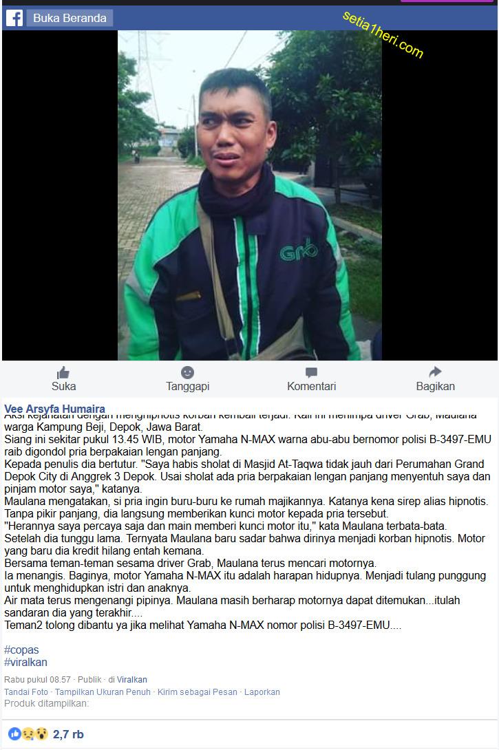 driver ojol korban hipnotis dengan motor yamaha nmax hilang di depok jawa barat tahun 2018