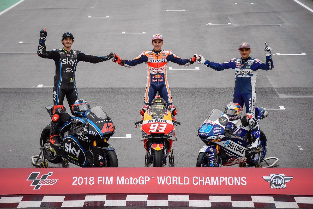 juara dunia moto 3, moto 2 dan moto gp tahun 2018