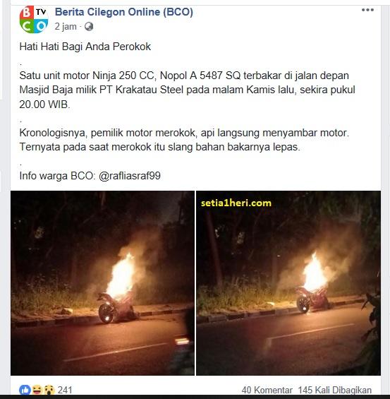motor terbakar akibat merokok di cilegon