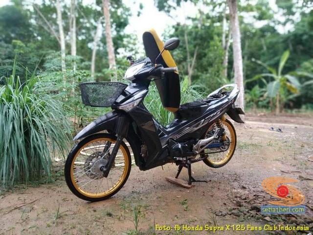 Modifikasi Honda Supra X 125 pakai keranjang di depan brosis (1)