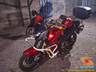Ragam bentuk engine guard atau frame tubular pada Yamaha Byson (7)