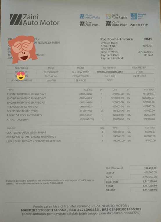 biaya perawatan chevrolet aveo tahun 2012 di Zaini Auto Motor Sukoharjo