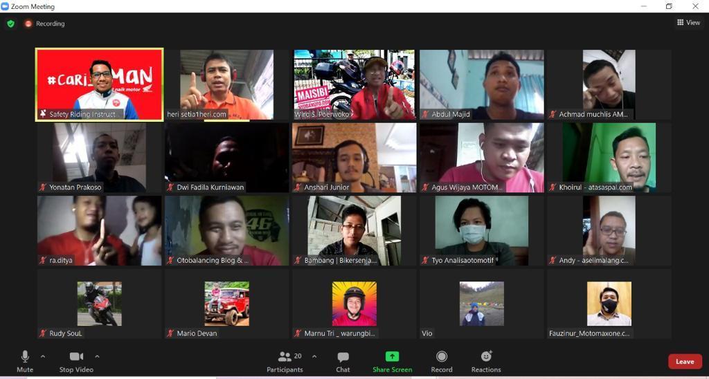 peserta Blogger dan Vlogger #cari_aman competition yang digelar oleh MPM Distributor pada bulan Maret 2021