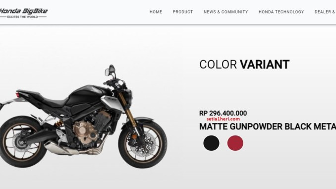 warna hitam Honda CB650R tahun 2021