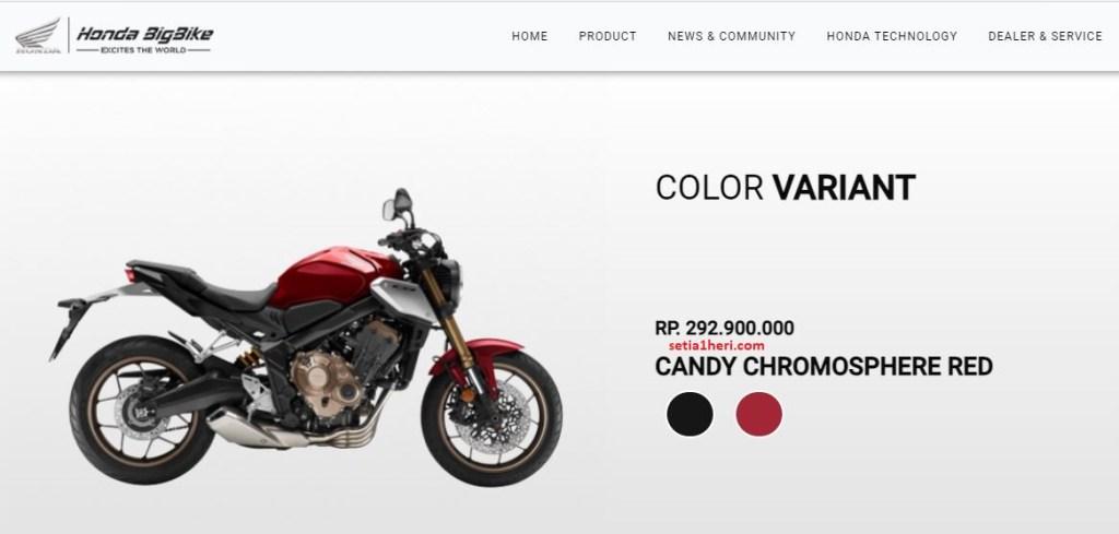 warna merah Honda CB650R tahun 2021