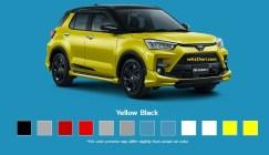 Pilihan warna hitam kuning Toyota Raize tahun 2021