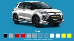 Pilihan warna putih Toyota Raize tahun 2021