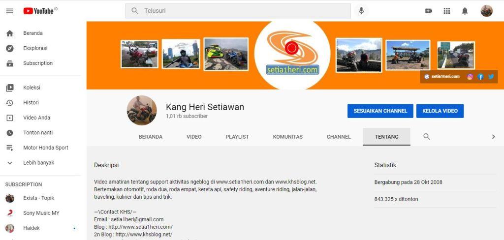 alhamdulillah tembus 1k kanal youtube setia1heri alias Kang Heri Setiawan