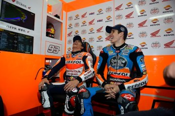 Marquez brothers taking an exhibition ride 2014