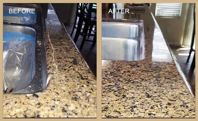 cracks repaired and granite refinished
