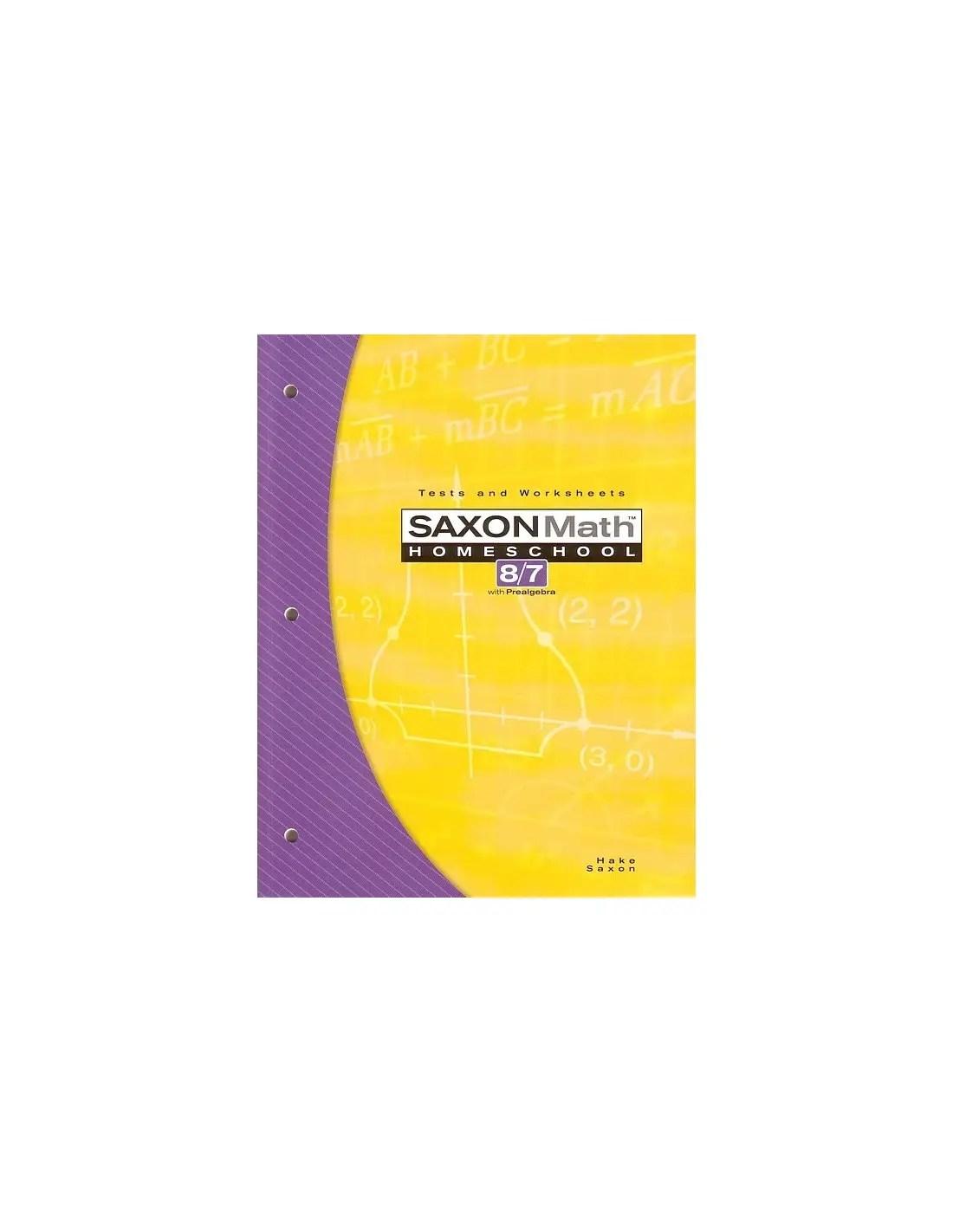 Saxon 87 Homeschool 3rd Edition Tests Worksheets