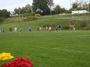 Students play intramural flag football in teams of seven. Photo courtesy of SHU Intramural's & Campus Recreation Facebook Page.