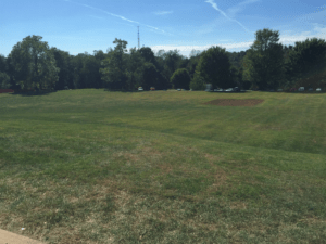 Area of Dechantal Lawn, possible spot for more housing at SHU, according to President Finger. Photo courtesy of C.Arida/Setonian