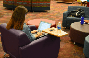 SHU student working in Reeves Library. Photo courtesy of
