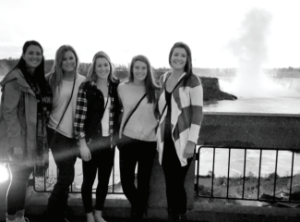 Left to right: Nicole Rossi-defense redshirt junior for the Lady Griffins- Tristen Hanke, Emily Fagan-attack redshirt junior- Nicole Nath and Charlotte Cunningham overlooking Niagara Falls. The five Seton Hill lacrosse players traveled to Niagara and Toronto over the course of a weekend. Photo courtesy by C.Cunningham/Setonian