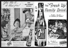 1953 ad for 7up. Many of the ads in the 1950s were centered on children and family. Photo courtesy of envisioningtheamericandream.com