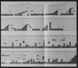 The original Super Mario game levels (as well as many levels in Mario sequals) were drawn out on graph paper by the creators. Photo courtesy by qz.com