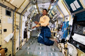 Jemison on board STS-47 during her first travel to space. Photo courtesy of wikipedia.com