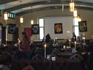Dining hall staff and volunteers prepare for the first arrivals to the dinner. Photo courtesy by Callista Arida