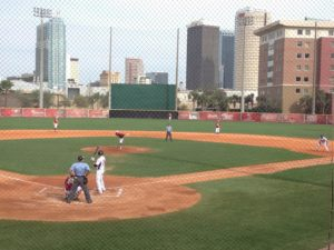 Seton Hill University Griffins took on the #1 ranked Spartans from the University of Tampa. A great day for baseball with clear skies and warm weather, the Griffins held strong but the Spartans finished with the 17.3 win. Photo courtesy of Christian Strong