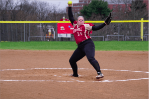 #24 Kaitlyn Kutchman is a senior pitcher for the Lady Griffins. She threw a no hitter last week in game one of the double header against Gannon University. Photo courtesy of J.Palmer