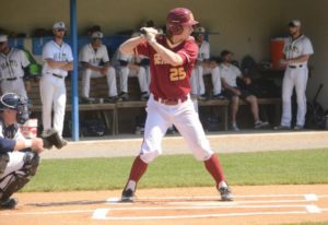 Garret Vrbanic hit a homer in the fifth inning in NCAA Regional. Photo from athletics.setonhill.edu.