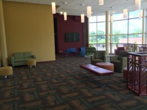 The third floor of the Boyle Center already contains chairs and couches at the top of the spiral staircase. Bassett said having these areas for students in a benefit they did not have in Maura Hall. Photo courtesy of P.Parise.
