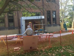 Construction is underway for the new student lounge located outside of Maura Hall. Photo courtesy of C.Arida.