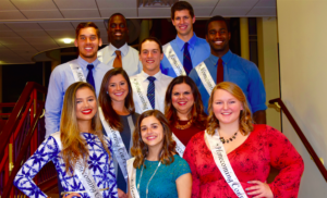 Members of the 2016 SHU homecoming court pose for a picture. From left to right: Row 1: Paula Carvajalino, Catrina Abbott, Emily Frost. Row 2: Emily Hutsko, Marisa Corona. Row 3: Christian Strong, Michael-Patrick Buckley, Emmanuel Joshua. Row 4: Fito Andre, Noah Davis. Photo courtesy of M.Corona.