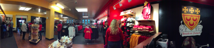 Shown above is a panorama of the new bookstore layout. Photo courtesy of H.Carnahan/Setonian.
