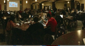 Students gather in Lowe Dining Hall to watch the results unfold for the 2016 presidential election. This election will go down in history, as there were two firsts on the ballot this year. The first female candidate, and the first male candidate to have never run for any previous office position.