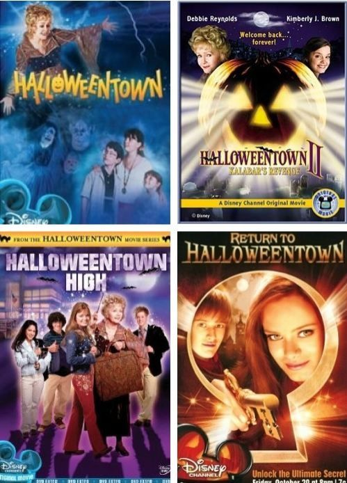 posters for all four of the halloweentown movies are shown above photo from pinterestcom