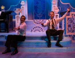 """Robert Martin, played by Noah Telford, and George, played by Jacob Westwood, take a break from tap dancing in their number """"Cold Feets."""""""