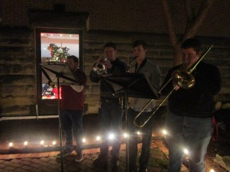 "Seton Hill student musicians performed ""O Come All Ye Faithful,"" ""O Holy Night"" and ""Hark! The Herald Angels Sing"" at the crib ceremony."