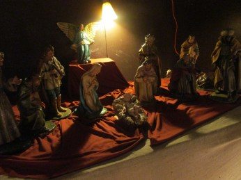 Students took turns placing each of the figures during the crib ceremony.