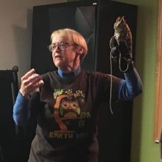 Marsha Osborne presents Hunter the screech owl. Photo by L.Cowan/Setonian.