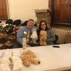 Matt Zielinski, director of student development, and Christina Qawasmy, resident director, pose with some stuffed animals. Photo by C.Arida/Setonian.