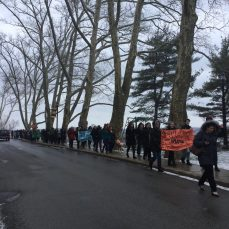 Participants walk around SHU's campus as part of the national school walkout on March 14. Photo by L.Cowan/Setonian.