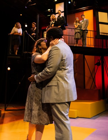 "Amy (Barbara Lawson) shares a kiss with Paul (Malcolm McGraw) after saying yes to his marriage proposal during Seton Hill University's production of ""Company"" from Oct. 19-27."