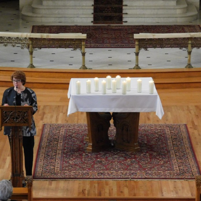 Seton Hill University President Mary Finger speaks at the memorial service in St. Joseph Chapel on Oct. 30 for the victims of the shooting at the Tree of Life synagogue in Squirrel Hill that occurred on Oct. 27. Photo by H.Carnahan/Setonian.