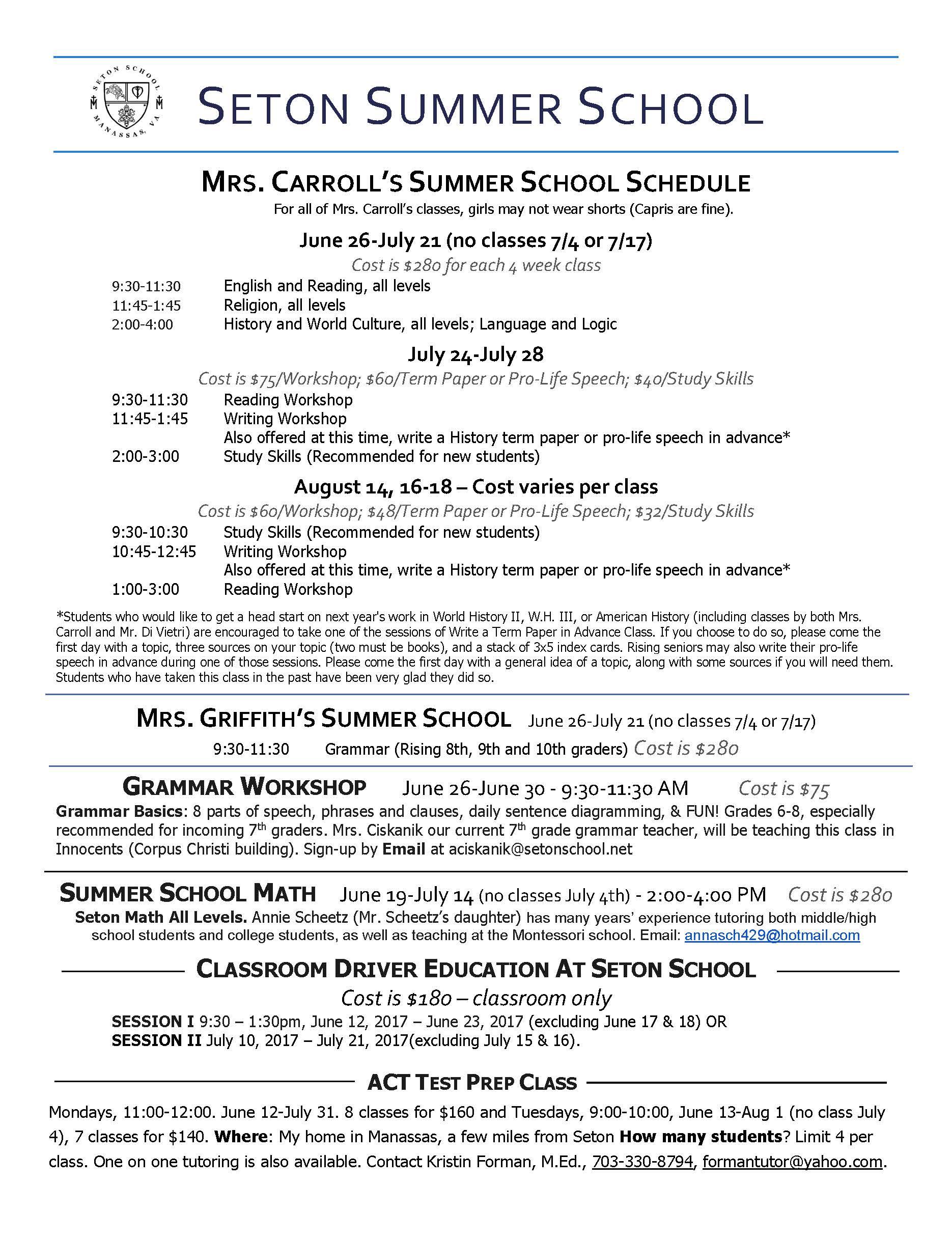 Summer Academic Schedule Summer Activities Schedule