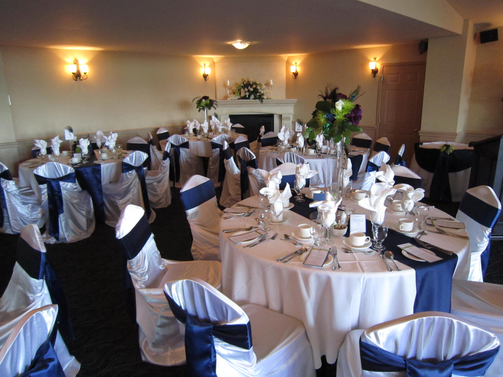 Navy Blue And Lime Green Wedding Decor