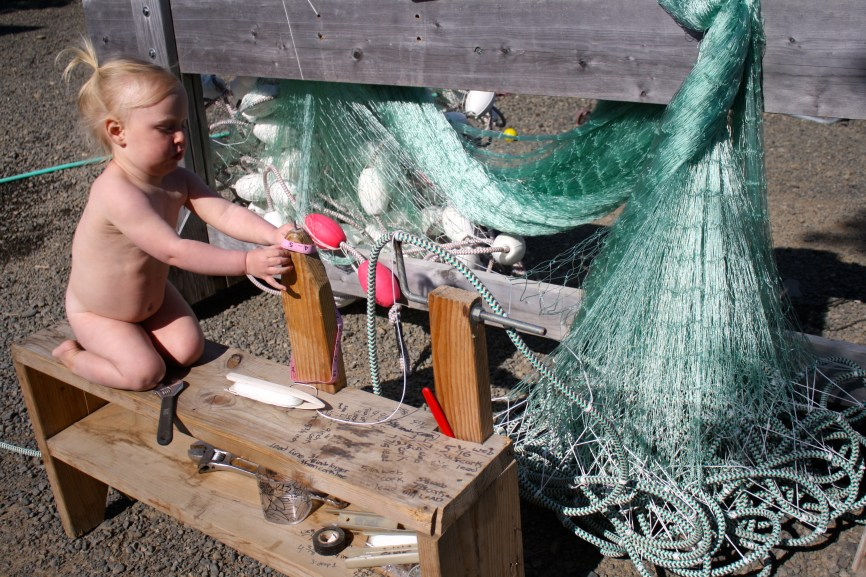 Bea hanging the Gillnet