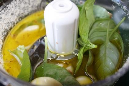 Lemon juice, garlic, olive oil and a few basil leaves